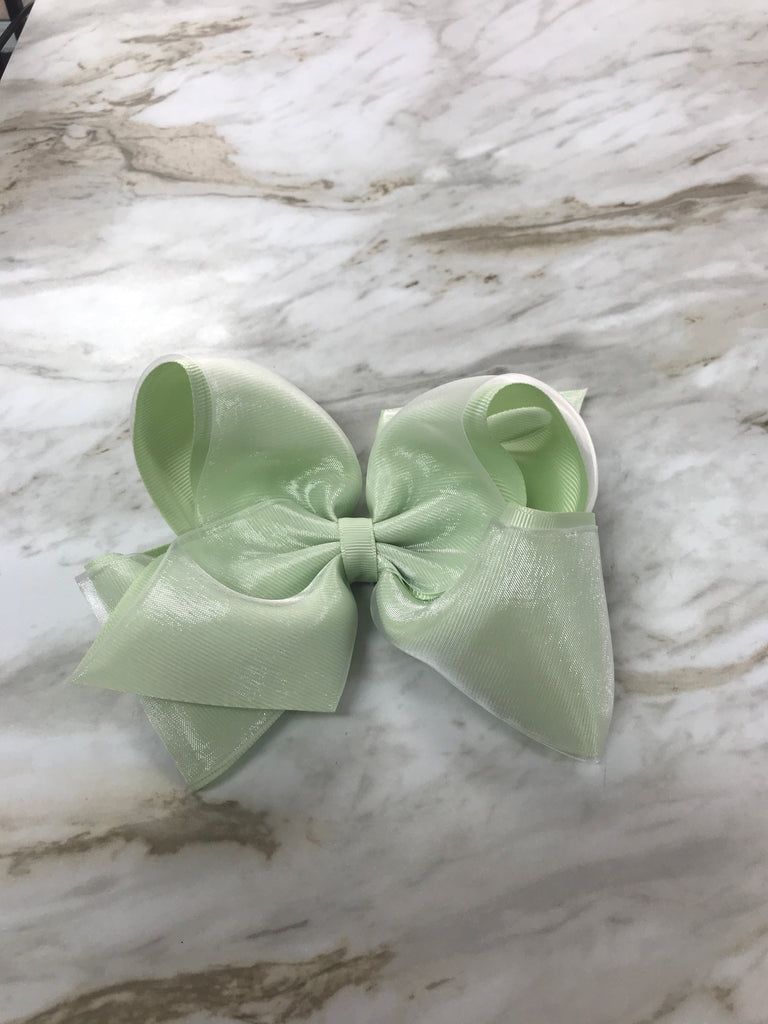 Seafoam Green King Organza Overlay Bow  - Doodlebug's Children's Boutique