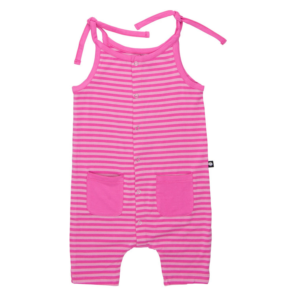 Sweet Bamboo Tie Strap Tank Romper Pink Stripes (with pockets) / 0-3 months - Doodlebug's Children's Boutique