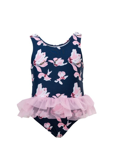 Tulle Skirt Swimsuit in Navy Orchid  - Doodlebug's Children's Boutique