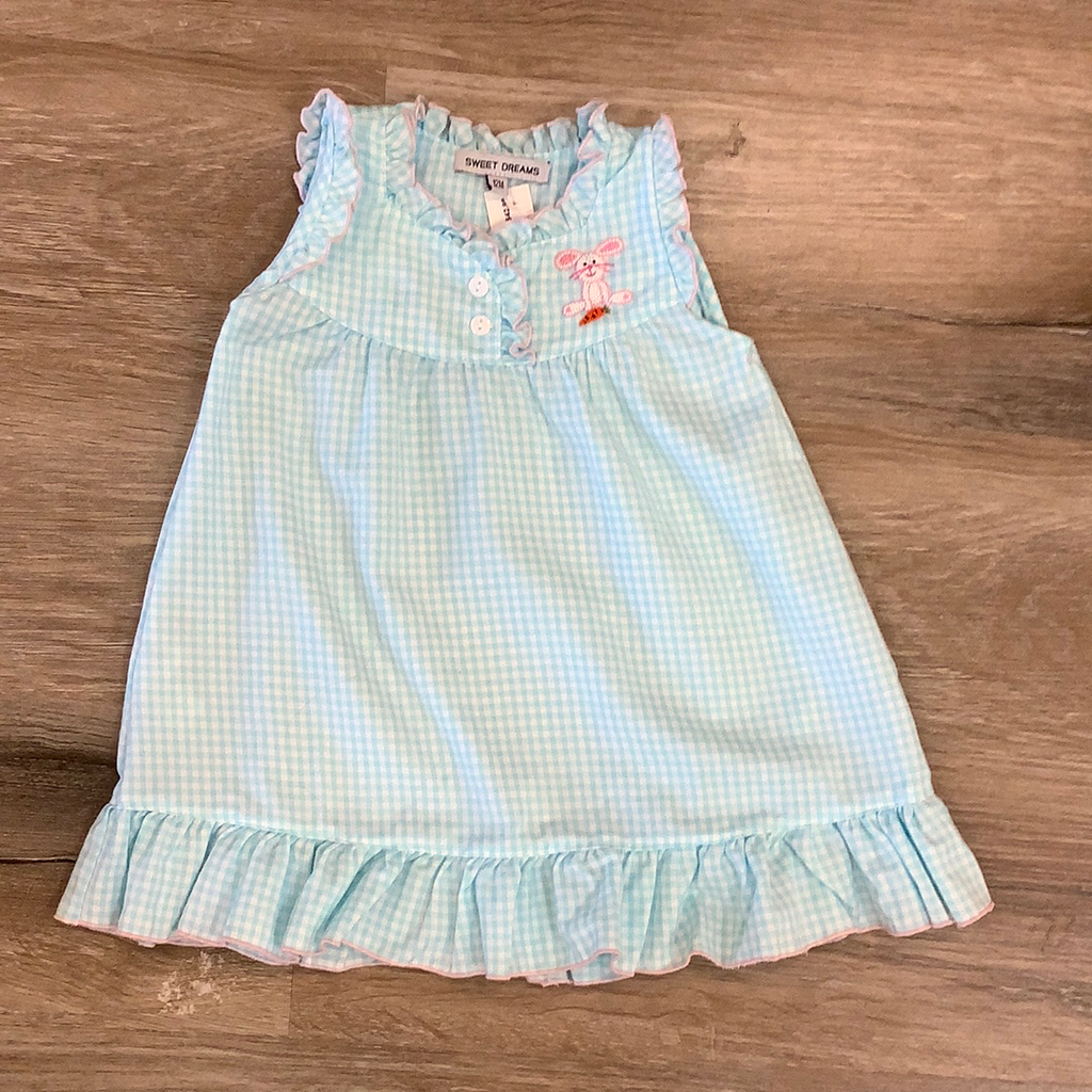 Bunny Embroidered Night Gown  - Doodlebug's Children's Boutique