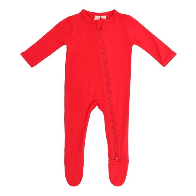 Zippered Footie in Crimson  - Doodlebug's Children's Boutique