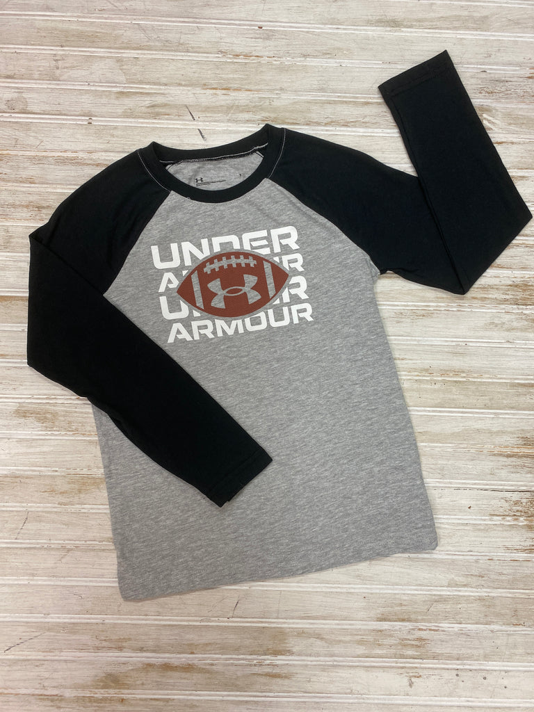 Mod Gray Football Long Sleeve Raglan Tee  - Doodlebug's Children's Boutique