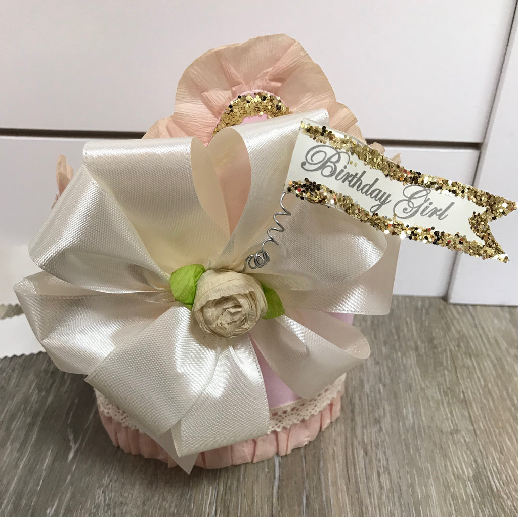 Doodlebugs Birthday Girl Crown Pink w/Ivory bow - Doodlebug's Children's Boutique