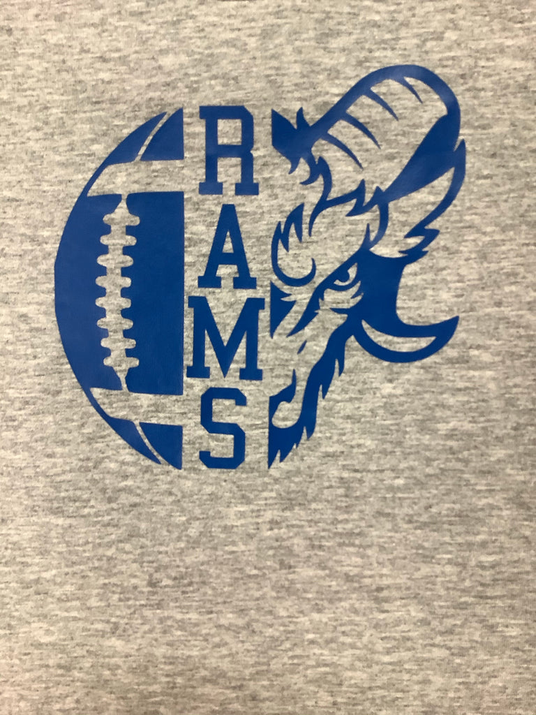 Rams Gray Football Tee  - Doodlebug's Children's Boutique