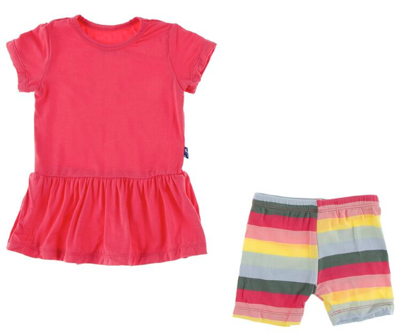 Print Short Sleeve Playtime Outfit Set in Biology Stripe  - Doodlebug's Children's Boutique