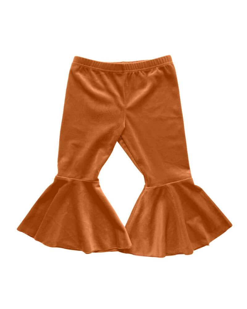 Bailey's Blossoms Camel Velour Pleated Bell Bottoms