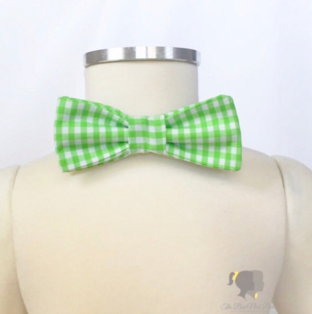 Carter Bow Tie in Lime Gingham Lime Gingham - Doodlebug's Children's Boutique