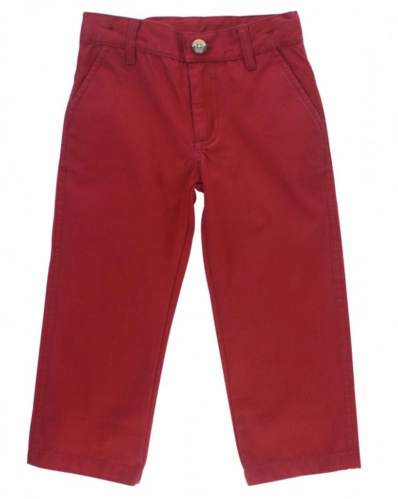 Cranberry Straight Chino Pants  - Doodlebug's Children's Boutique