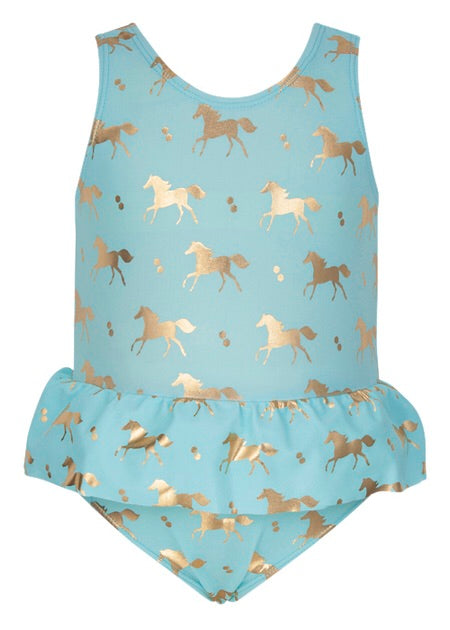 Snapperrock Gold Horse Skirt Swimsuit