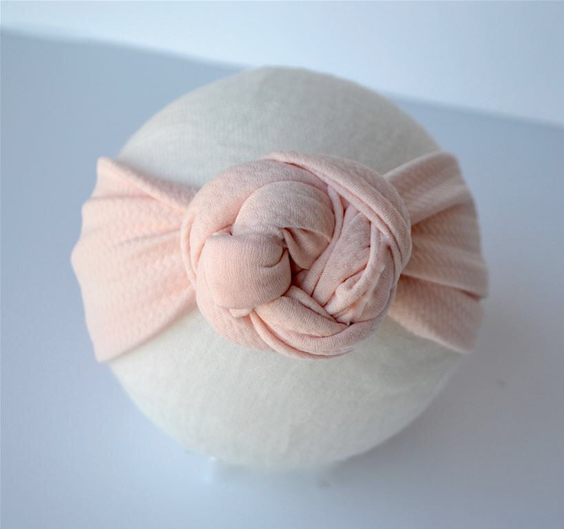 Peach Top Knot Headband Peach / Size 1 (newborn-6 months) - Doodlebug's Children's Boutique