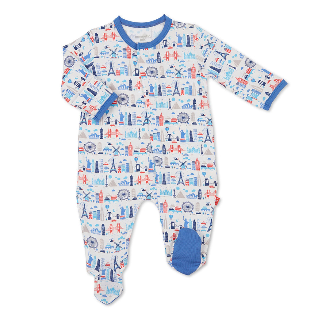 Blue Globetrotter Magnetic Modal Footie Blue Globetrotter / 0-3 months - Doodlebug's Children's Boutique