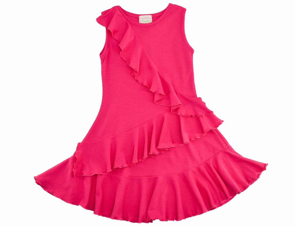 Cascading Dress in Pink  - Doodlebug's Children's Boutique