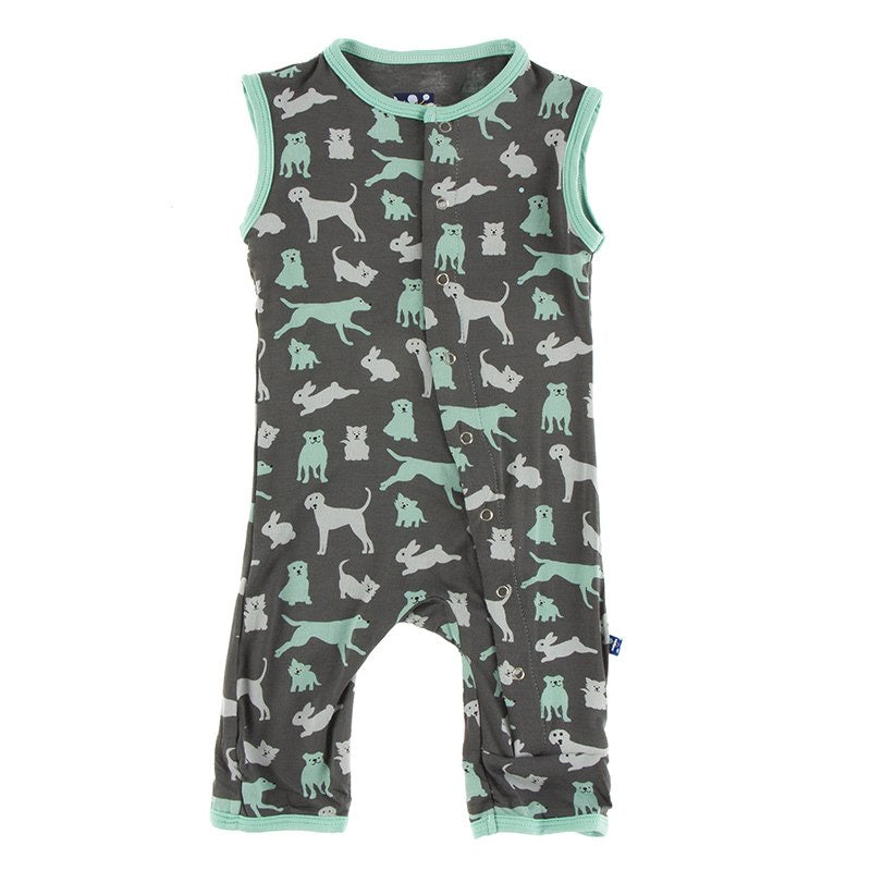 Print Tank Romper in Stone Domestic Animals  - Doodlebug's Children's Boutique