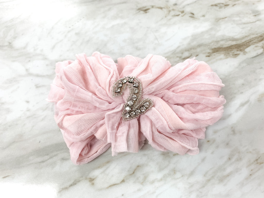 Light Pink #2 Birthday Headband  - Doodlebug's Children's Boutique