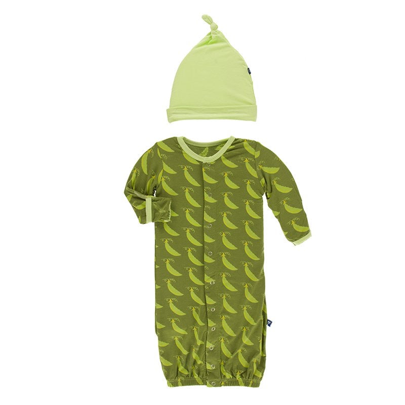 Print Layette Gown Converter and Knot Hat Set in Grasshopper Sweet Peas  - Doodlebug's Children's Boutique