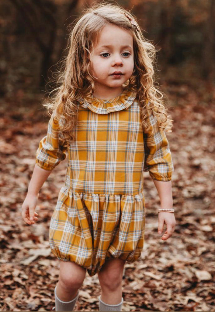 Gold Plaid Romper  - Doodlebug's Children's Boutique