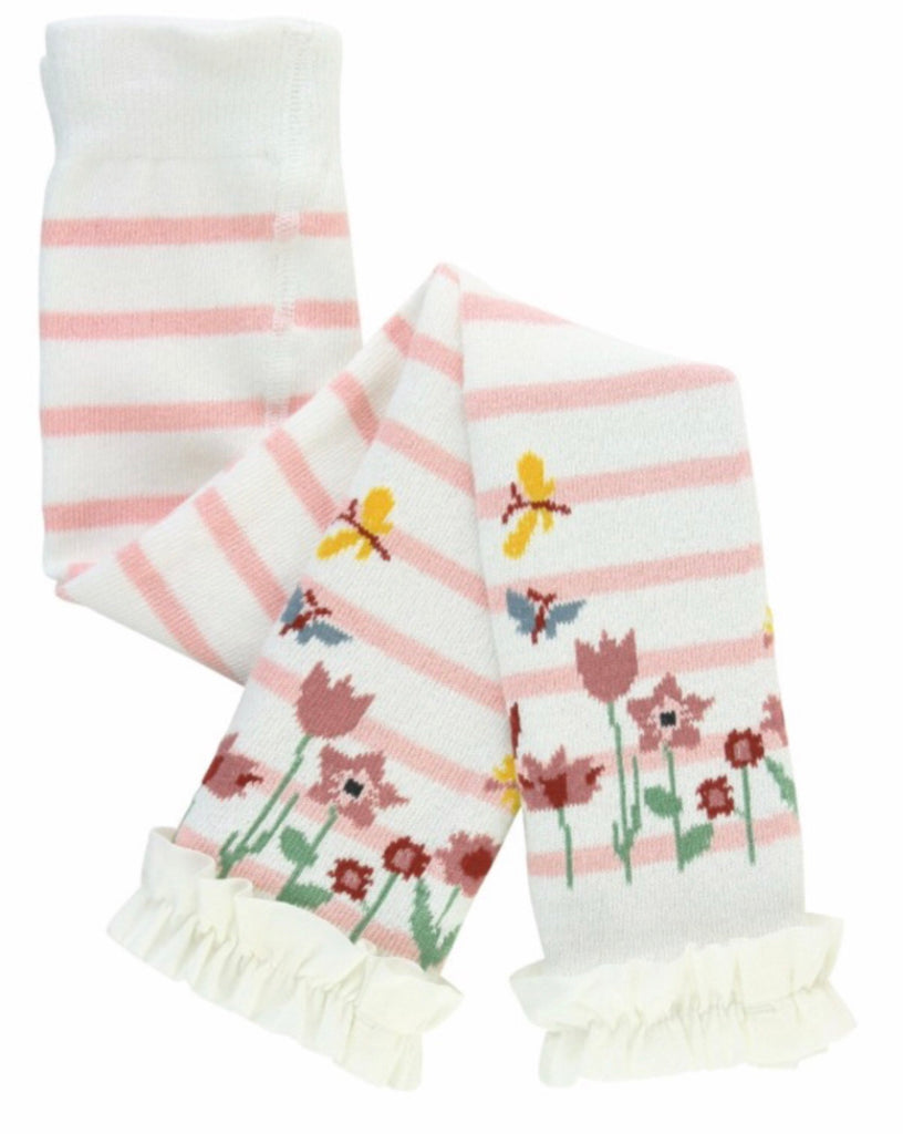 Ballet Pink and Ivory Stripe Footless Ruffle Tights Ballet Pink & Ivory Stripe / 2T-4T - Doodlebug's Children's Boutique
