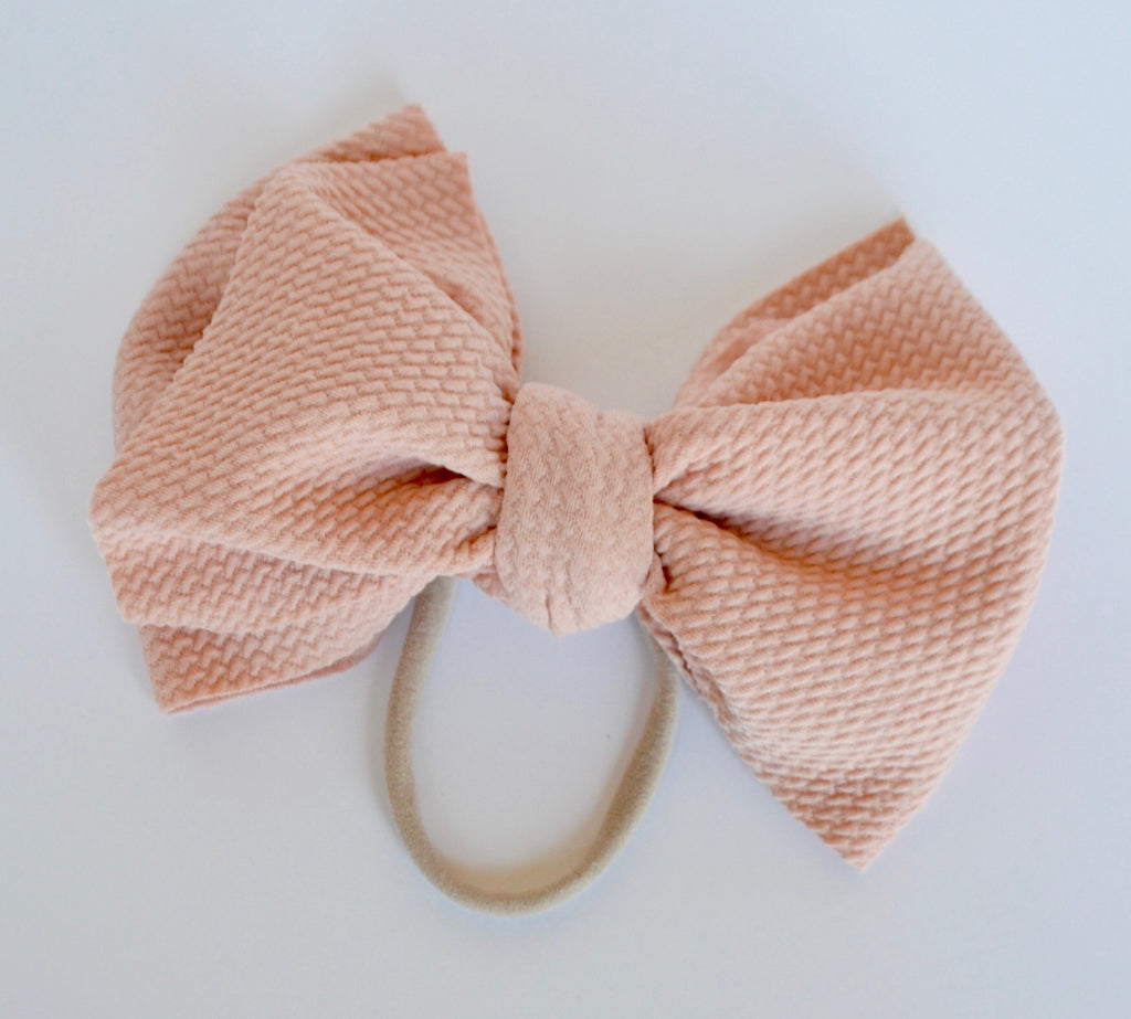 Peach Bella Bow Peach - Doodlebug's Children's Boutique