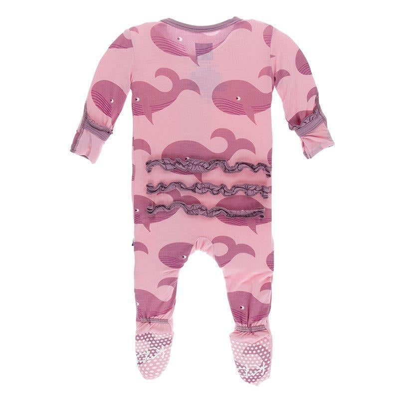 Print Classic Ruffle Footie with Zipper in Lotus Whales  - Doodlebug's Children's Boutique