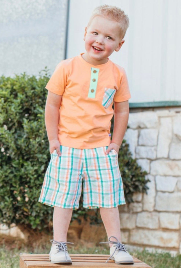Presley Plaid Peach Pocket Henley  - Doodlebug's Children's Boutique