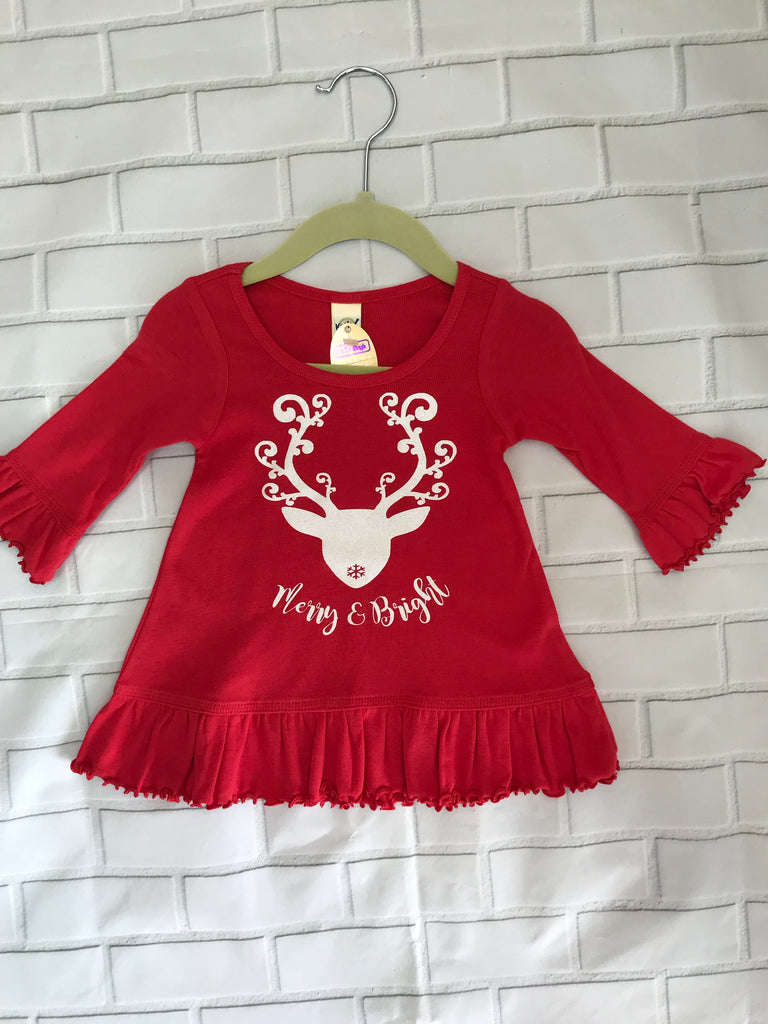 Kavio Merry and Bright Long Sleeve Ruffle Tee