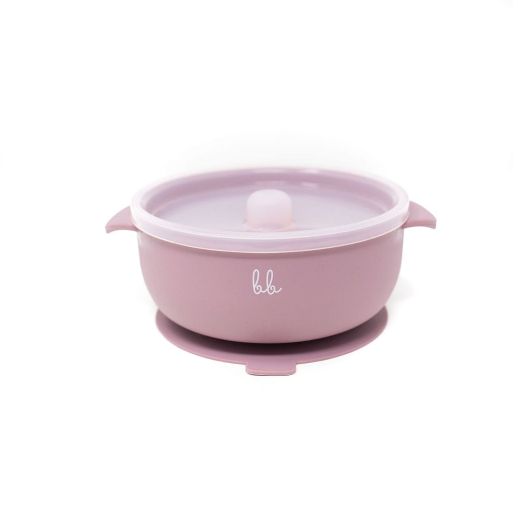 Suction Bowl with Lid in Mauve  - Doodlebug's Children's Boutique