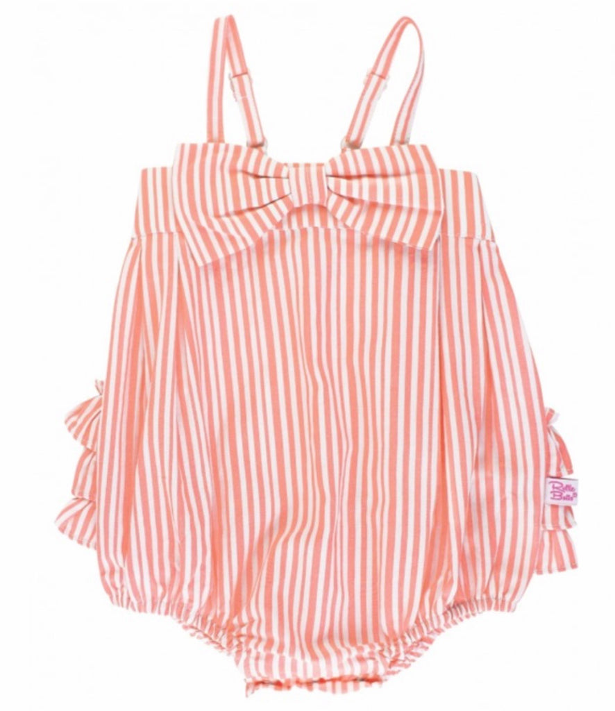 Coral Stripe Bubble Romper  - Doodlebug's Children's Boutique