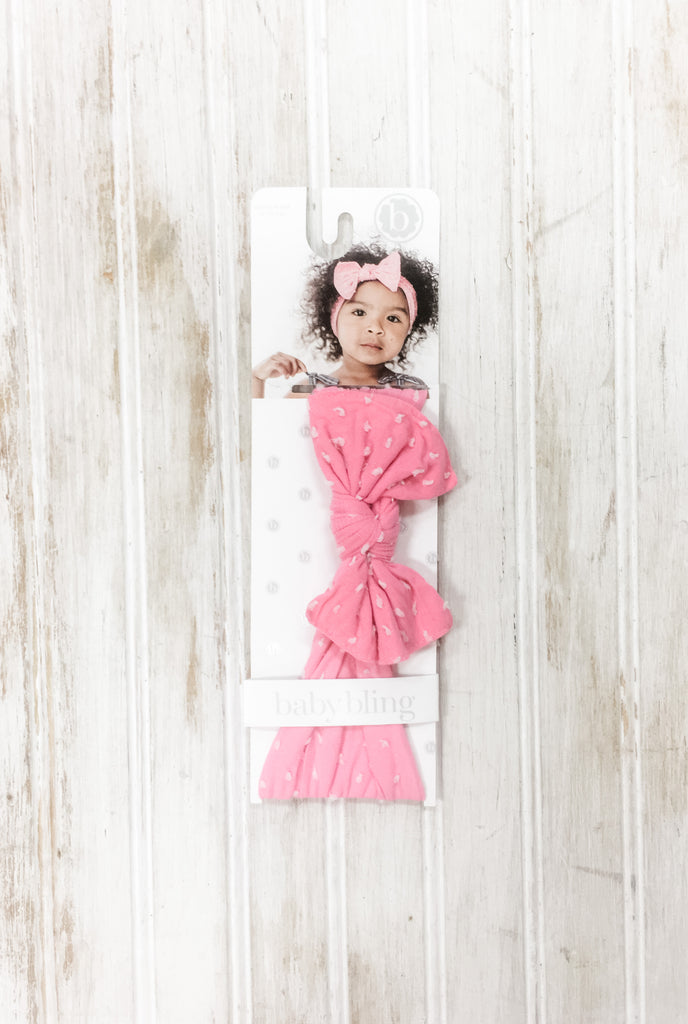Bubblegum Pink Dots Knot Headband  - Doodlebug's Children's Boutique