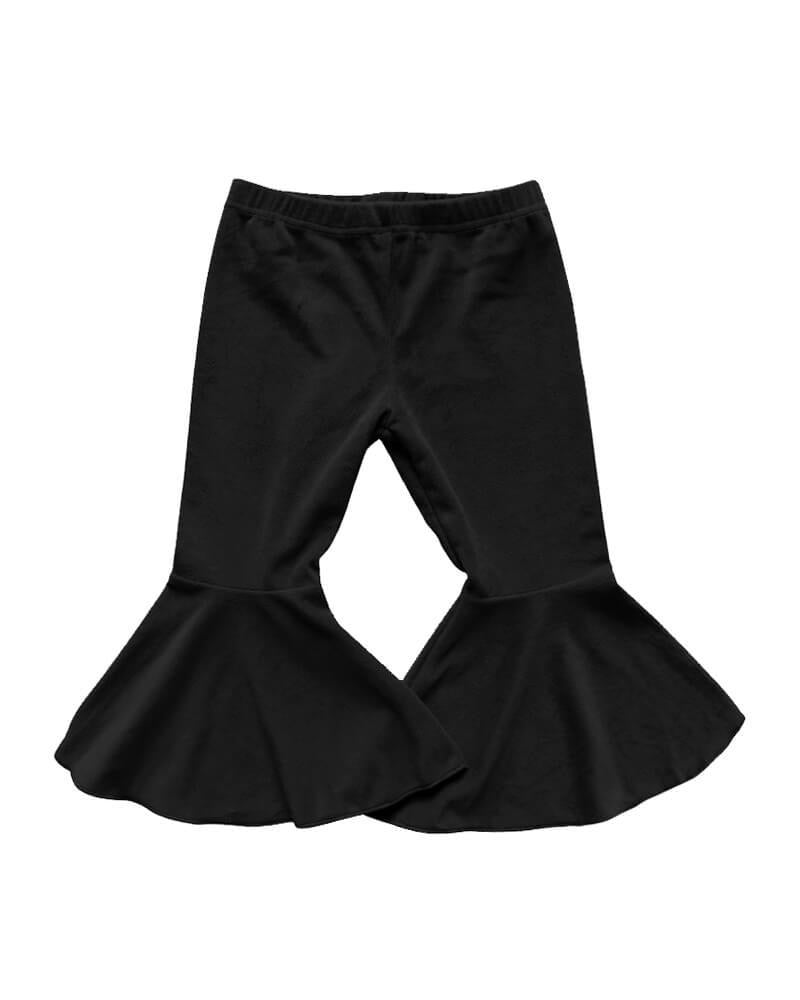 Bailey's Blossoms Black Velour Pleated Bell Bottoms