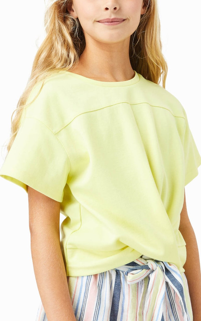 Mara Twist Front Top in Yellow  - Doodlebug's Children's Boutique
