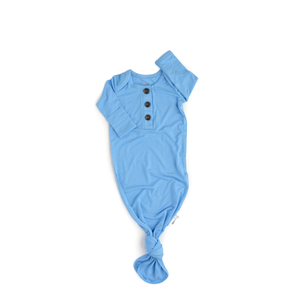 Baby Blue Signature Tie Button Gown  - Doodlebug's Children's Boutique