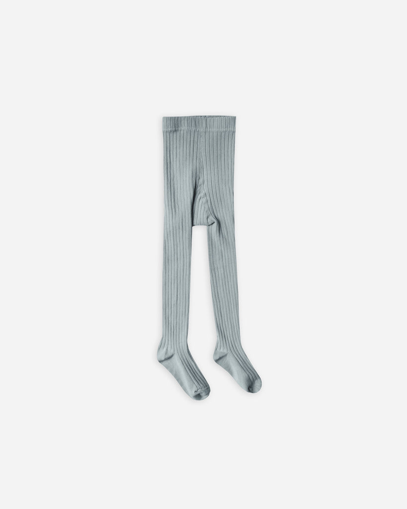Solid Ribbed Tights in Dusty Blue  - Doodlebug's Children's Boutique
