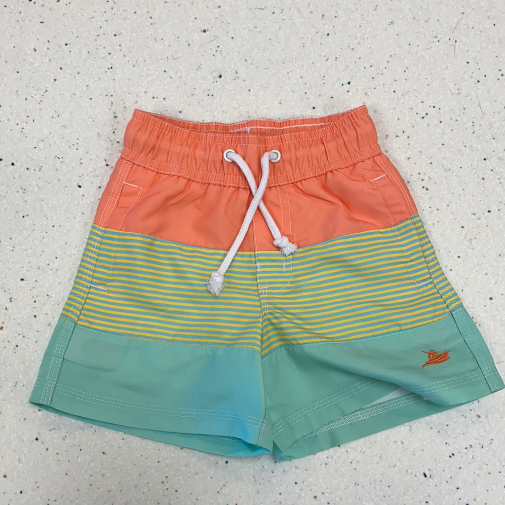 Swim Trunks in Yellow Stripe Color Block  - Doodlebug's Children's Boutique