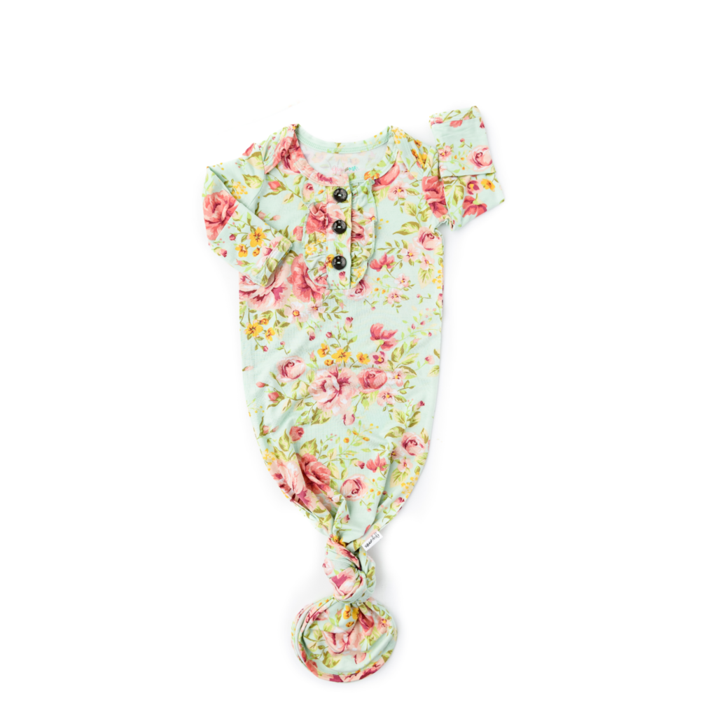 Grace Knotted Ruffle Button Gown  - Doodlebug's Children's Boutique
