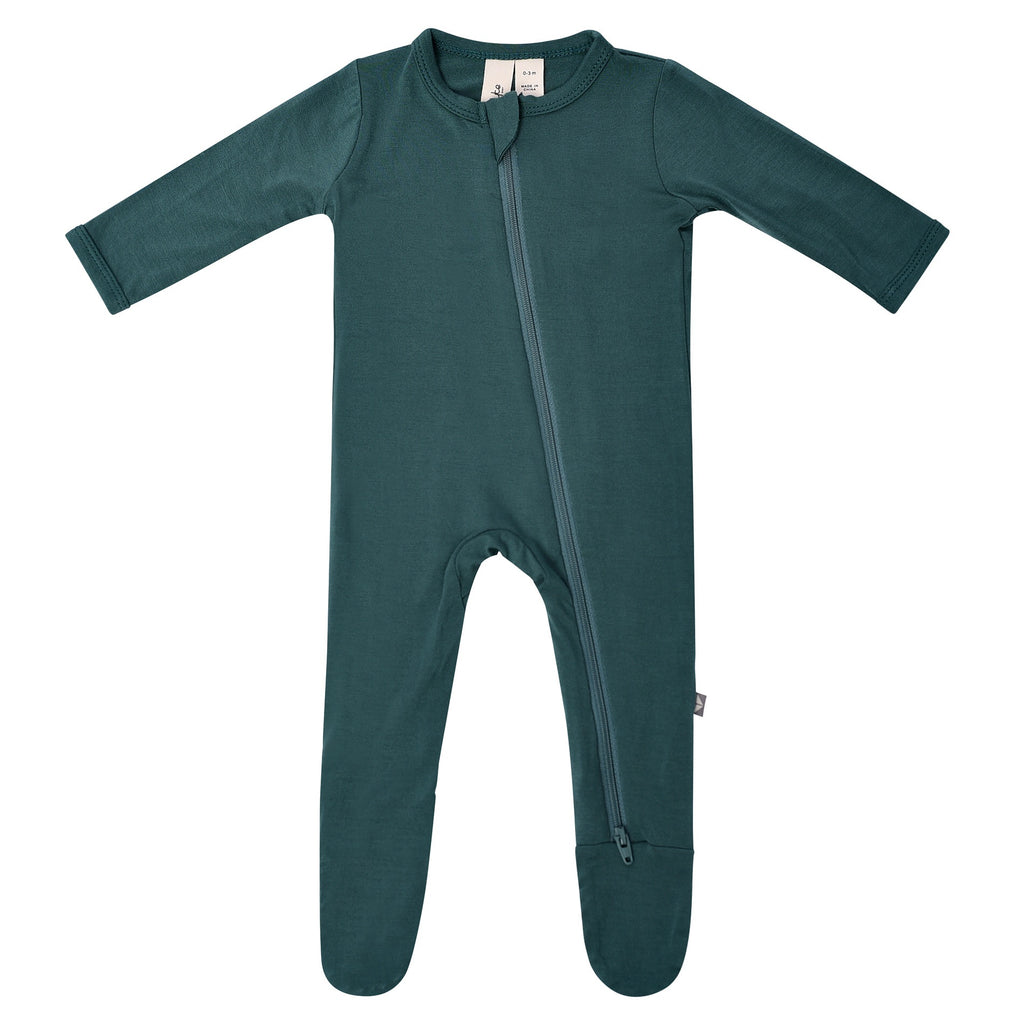 Zippered Footie in Emerald Emerald / 0-3 months - Doodlebug's Children's Boutique