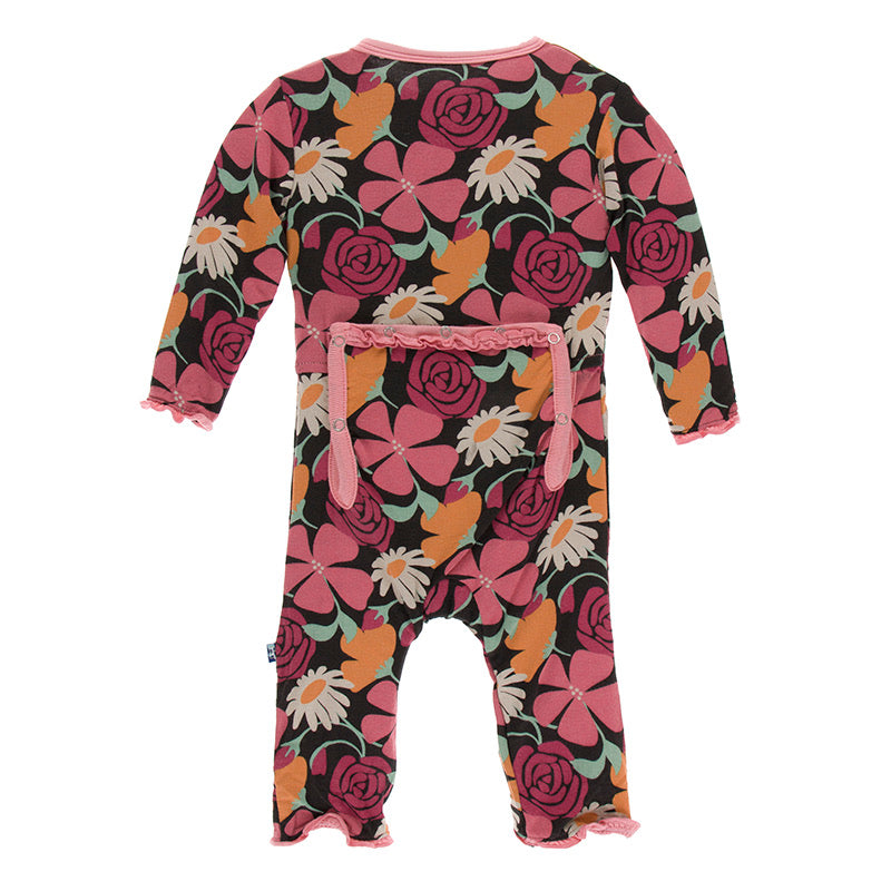 Print Muffin Ruffle Coverall with Zipper in Zebra Market Flowers  - Doodlebug's Children's Boutique