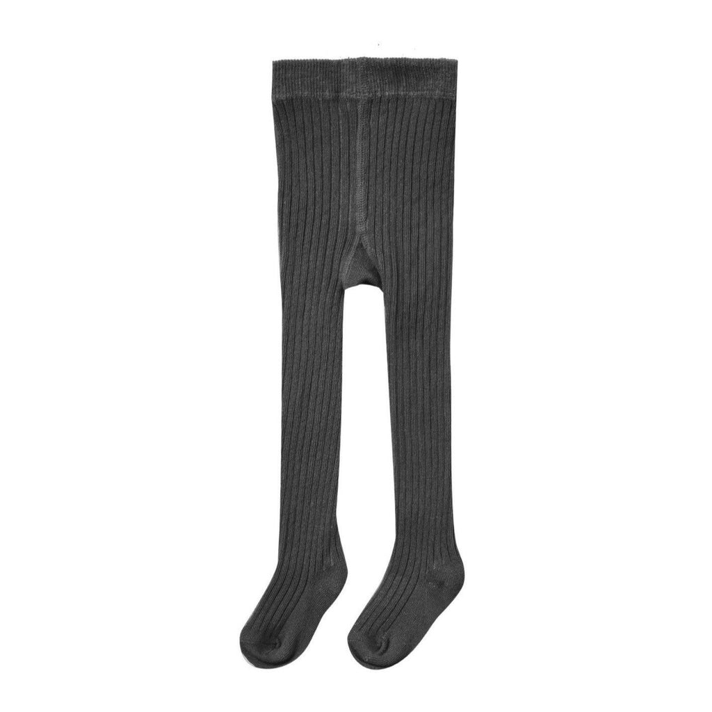 Solid Ribbed Tights in Vintage Black Vintage Black / 12-24 months - Doodlebug's Children's Boutique