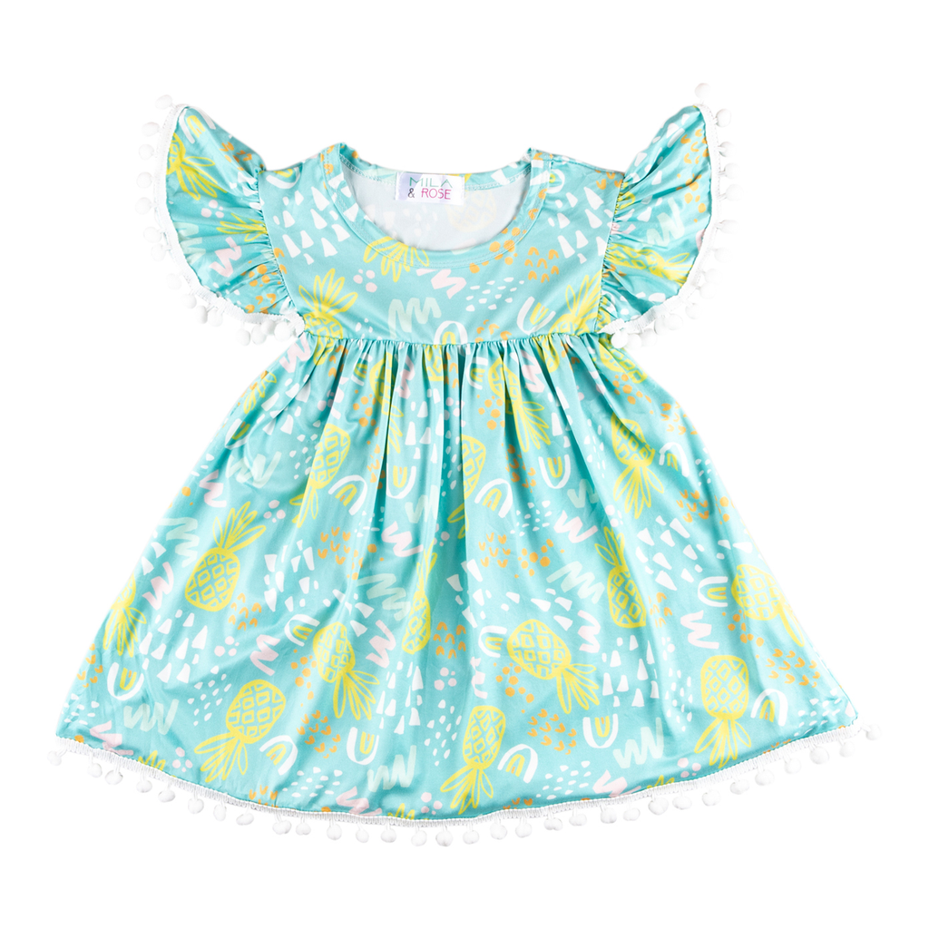Painted Pineapple Pom Pom Dress  - Doodlebug's Children's Boutique