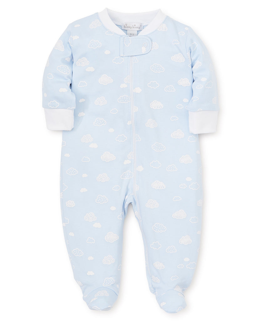 Kissy Kissy Cotton Clouds Footie with Zipper  - Doodlebug's Children's Boutique
