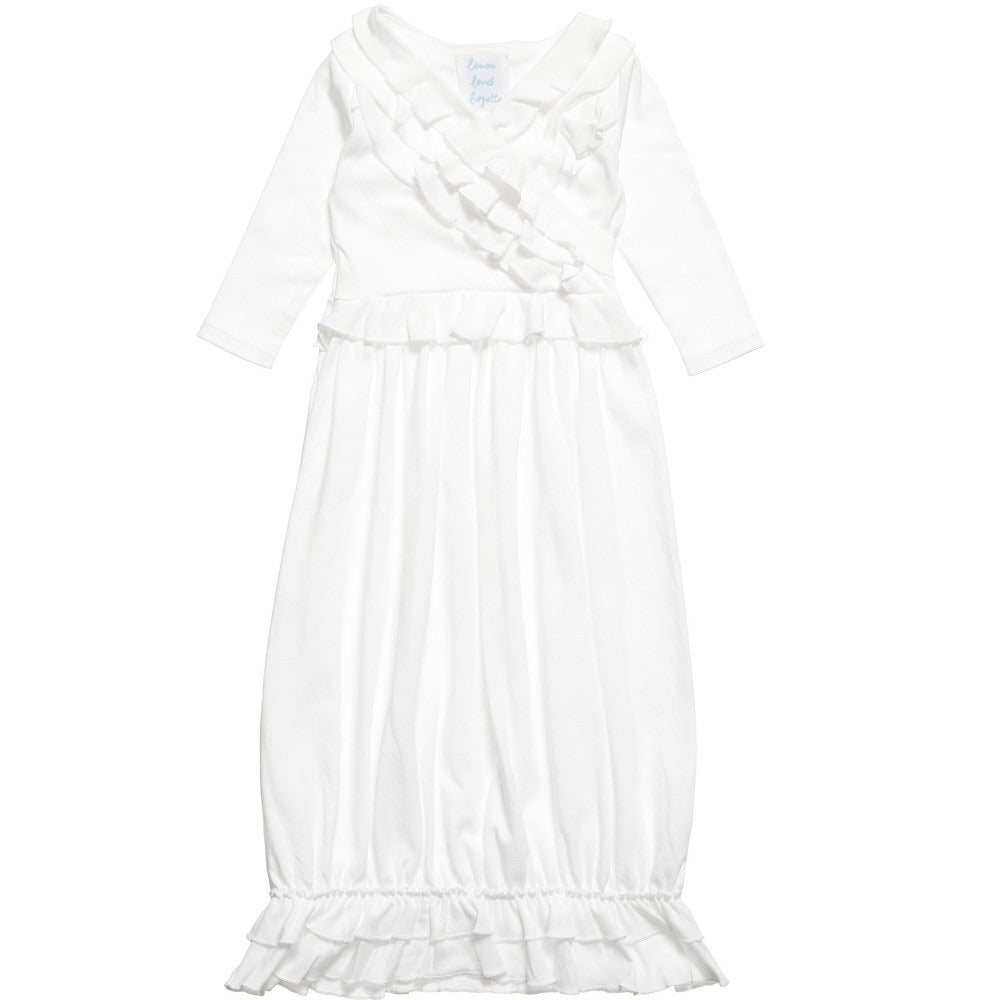 Jenna Gown in White White / 0-3 months - Doodlebug's Children's Boutique