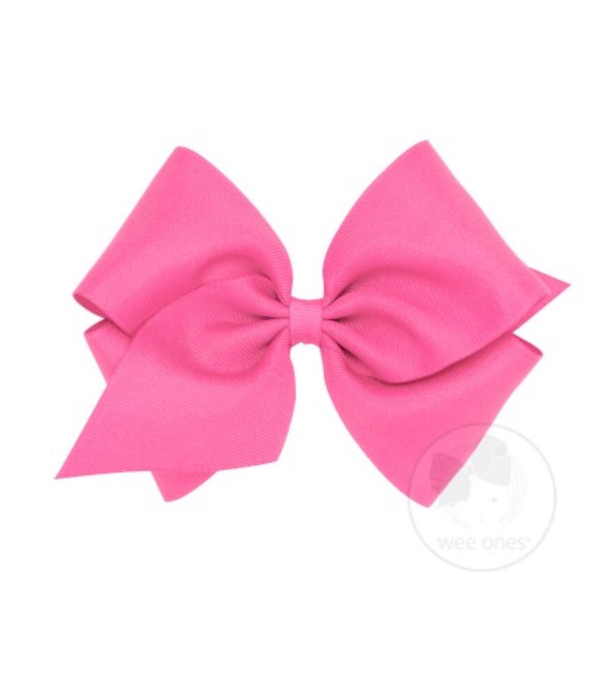 Hot Pink King Classic Bow With Alligator Clip - Doodlebug's Children's Boutique