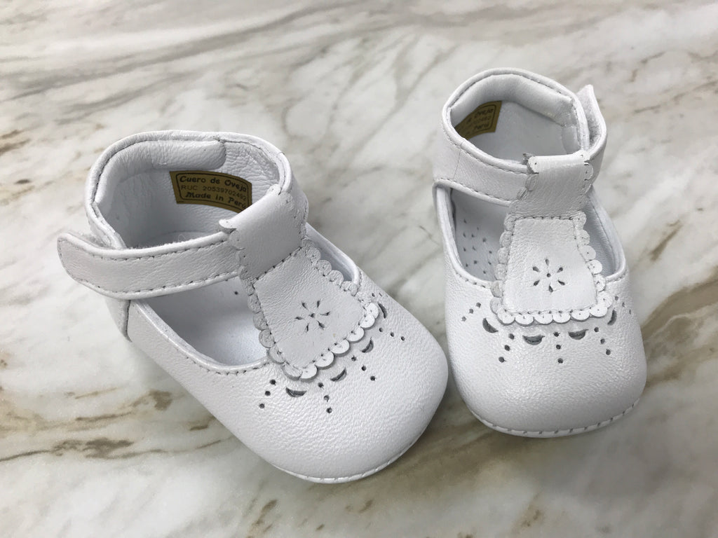 Julie Infant Leather Shoes in White  - Doodlebug's Children's Boutique