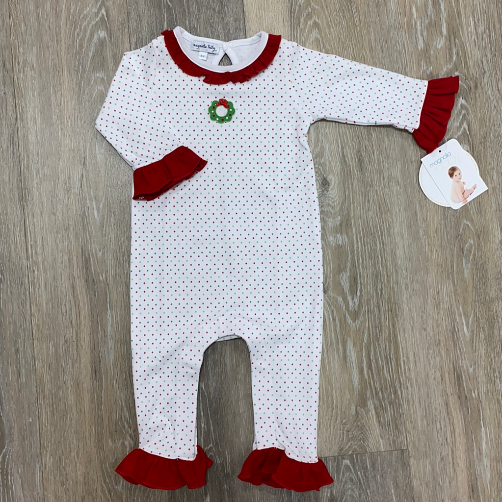 Holiday Wreath Classics Playsuit  - Doodlebug's Children's Boutique