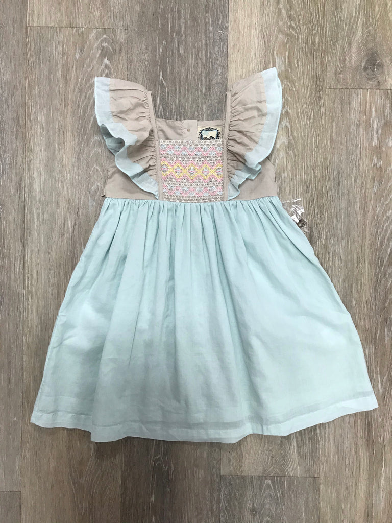 Millie Dress in Sky Blue Bisque 12 months - Doodlebug's Children's Boutique