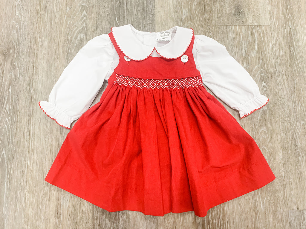 Red Cord Geo Dress with White Shirt  - Doodlebug's Children's Boutique