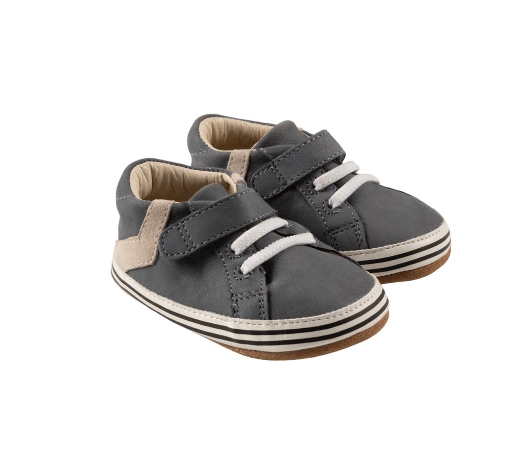 Adam First Kicks in Grey Leather  - Doodlebug's Children's Boutique