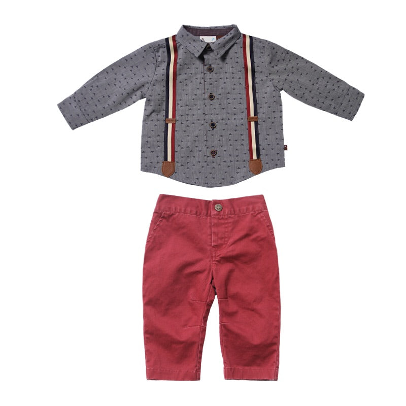 Fore Axel and Hudson Confetti Suspender Set  - Doodlebug's Children's Boutique