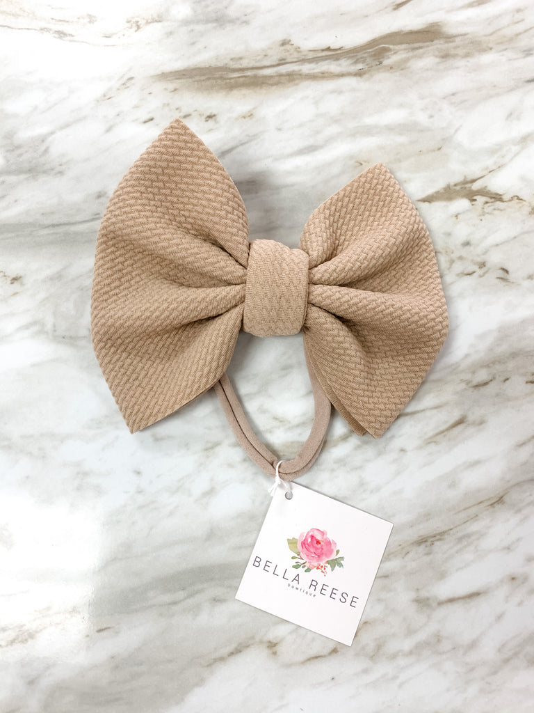 Taupe Bella Bow  - Doodlebug's Children's Boutique