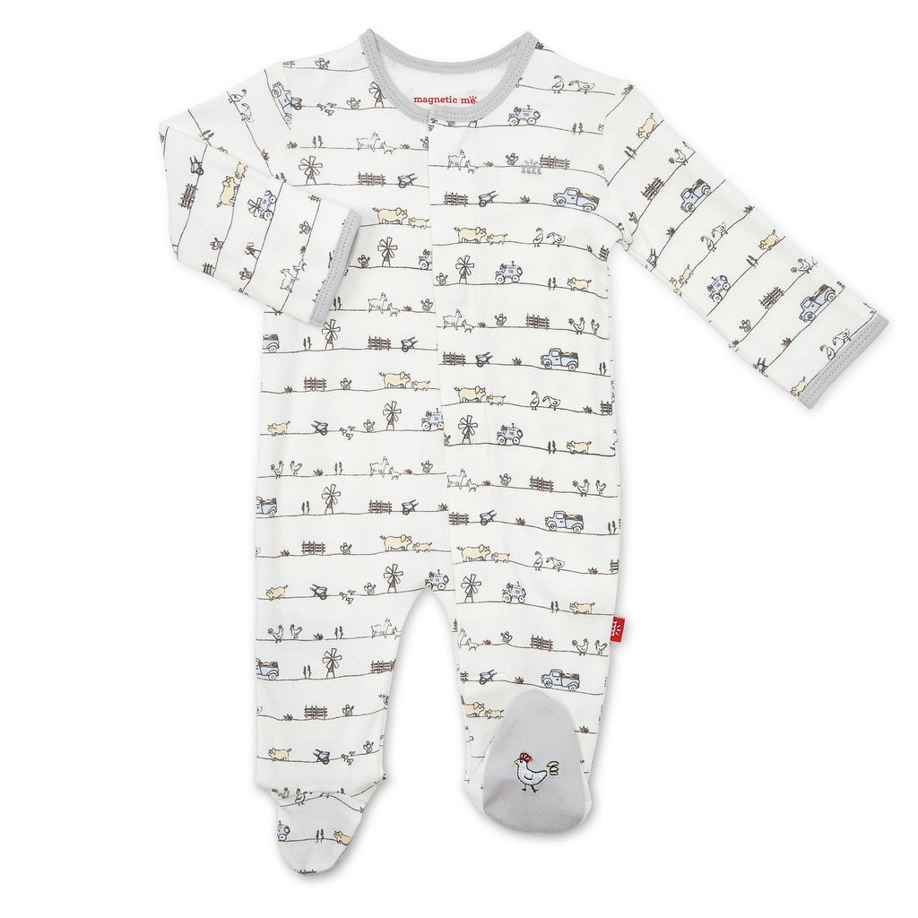 Dig In Magnetic Footie Dig In Organic Cotton Collection Footie / Preemie - Doodlebug's Children's Boutique