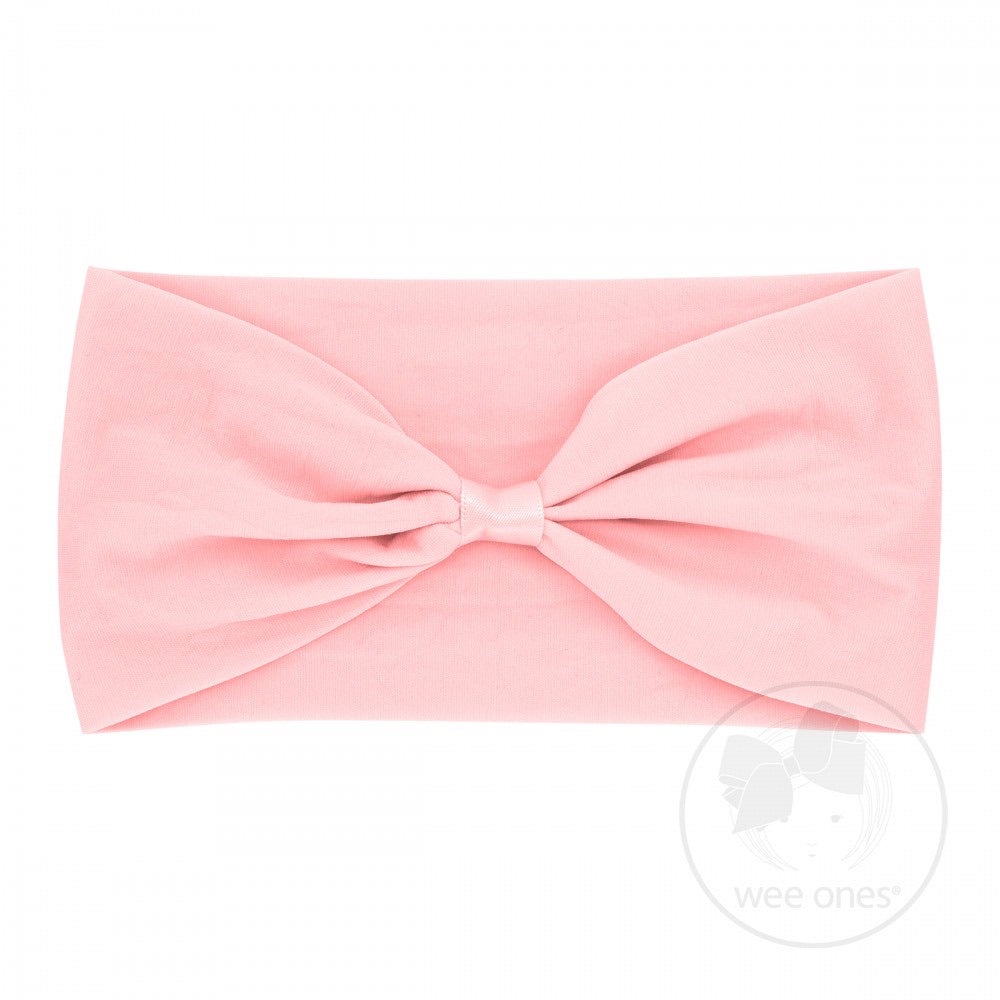 Light Pink Nylon Add-A-Bow Baby Band  - Doodlebug's Children's Boutique